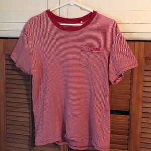 Red and White Striped Guess Tshirt
